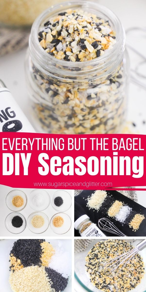 How to make your own homemade Everything but the Bagel Seasoning. This addictive little blend tastes amazing on everything from soups to scrambled eggs to homemade bread and veggie dips. It also makes a cute homemade gift for the foodie in your life
