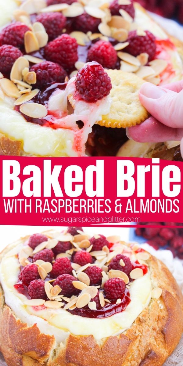 How to bake brie in sourdough bread, plus tips on different delicious toppings - including this raspberry jam, fresh raspberry and toasted almond topping. This baked brie in sourdough bread is perfect for any special occasion and is the ultimate in cheesy appetizer decadence.