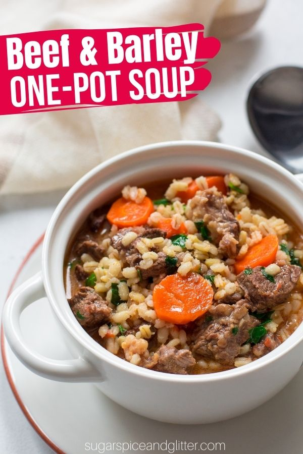 A delicious and filling one-pot Beef and Barley Soup. An easy and comforting meal that is loaded with tender chunks of beef, perfectly cooked vegetables, a flavorful broth and chewy pearl barley.