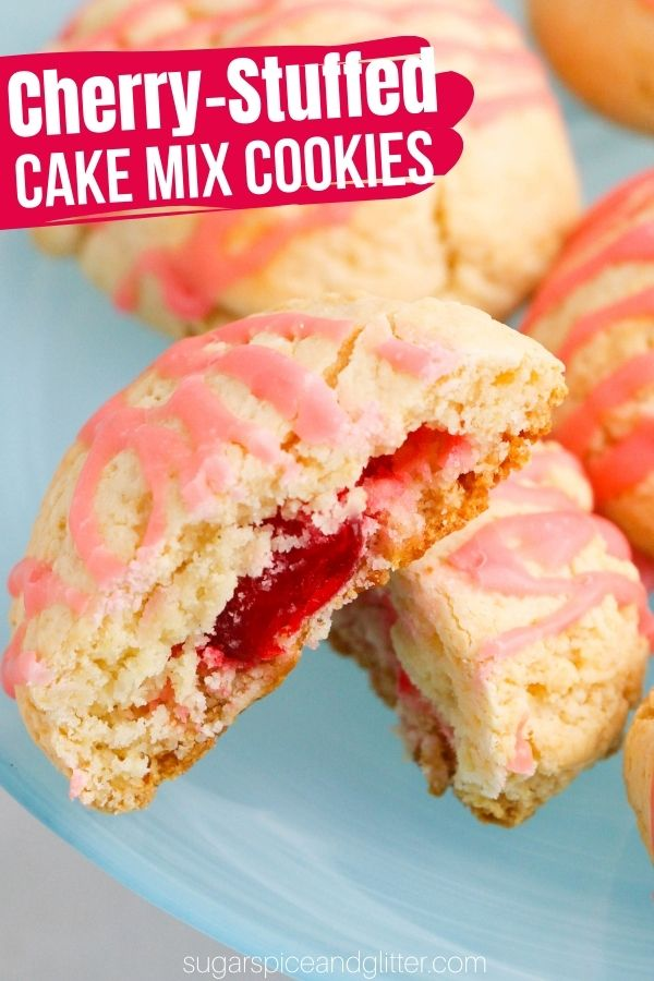 A tender, fluffy and delicious cherry-stuffed cookie recipe made with cake mix! These cake mix cookies are super fun and easy for kids to make and there are so many ways to play with this recipe by changing the cake mix flavor or what you stuff the cookies with.