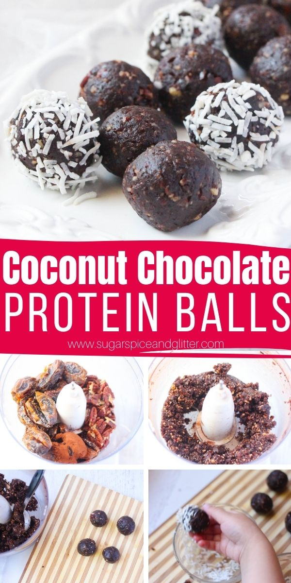 How to make No Bake Chocolate Coconut Protein Balls. A delicious, healthy dessert that will Satisfy Your Sweet Tooth - While Sticking to Your Healthy Eating Goals