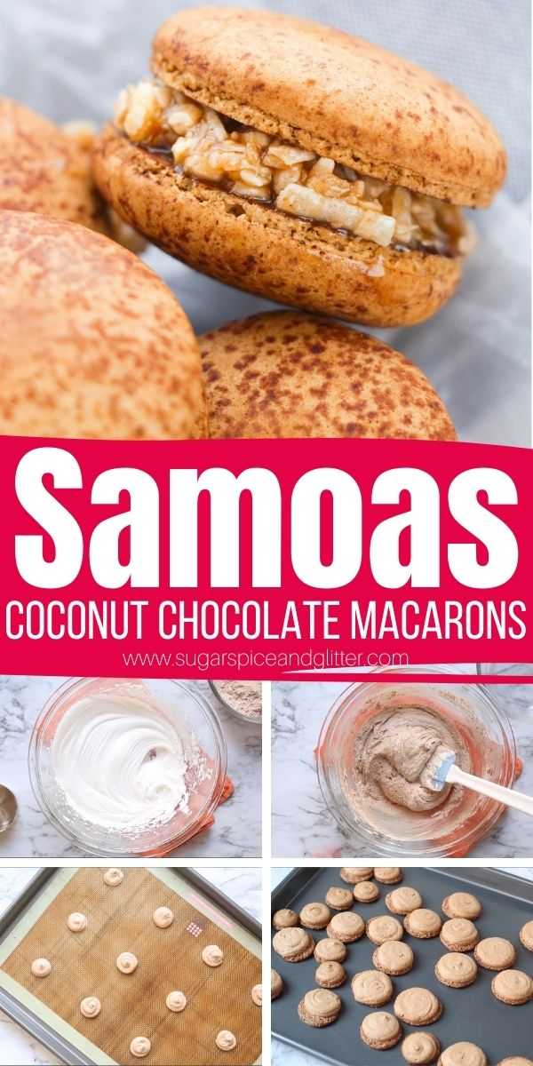 How to make Samoa Macarons, with airy chocolate meringue cookies and a luscious toasted coconut and caramel filling. This is a grown-up twist on the classic Girl Guide cookie that tastes like it came from a gourmet bakery