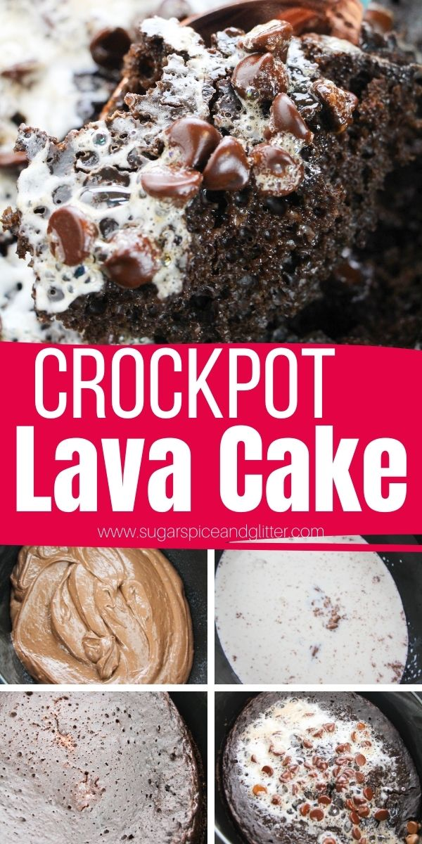 How to make crockpot chocolate lava cake, a decadent crockpot dessert that tastes just like a chocolate souffle - but with way less effort! So simple, the kids can help make it.