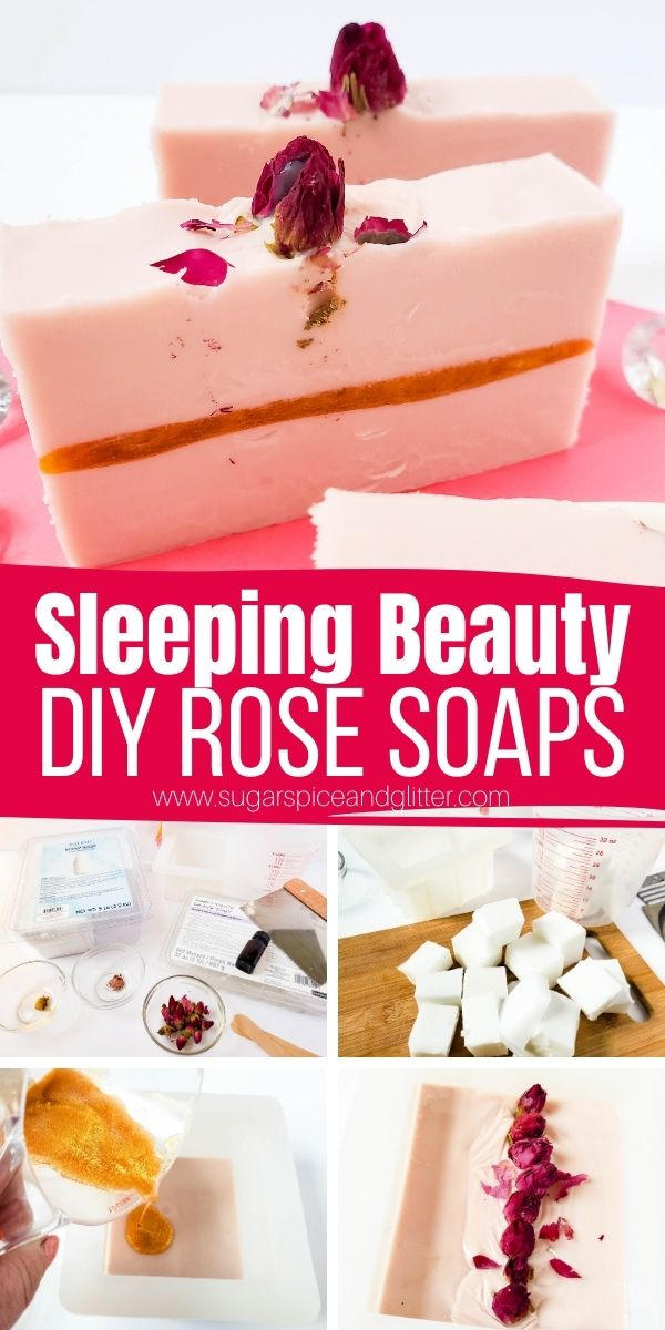 How to make rose soap bars with goat's milk soap base and rose essential oil. These gorgeous DIY soap bars add a touch of luxury to your bathroom and also make a thoughtful homemade gift