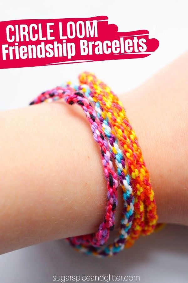 A step-by-step tutorial (plus how-to video) for how to make the easiest friendship bracelets using a homemade circle loom. You just need three materials to make these easy circle loom friendship bracelets: cardboard, embroidery thread, and scissors.
