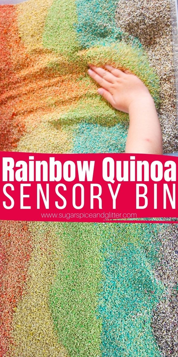 How to make a rainbow quinoa sensory bin without rubbing alcohol, a gorgeous sensory bin kids can play with for months and can be used to learn in so many different ways.