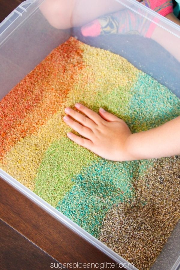 Rainbow Quinoa Sensory Bin
