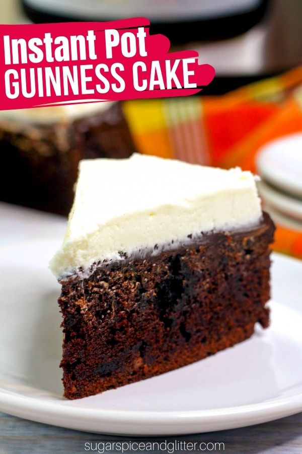 A delicious Instant Pot chocolate cake perfect for entertaining or St Patrick's Day, this Guinness Chocolate Cake with Bailey's Frosting is decadence at it's finest. A tender chocolate cake topped with 2-ingredient chocolate ganache and a creamy Bailey's buttercream frosting.