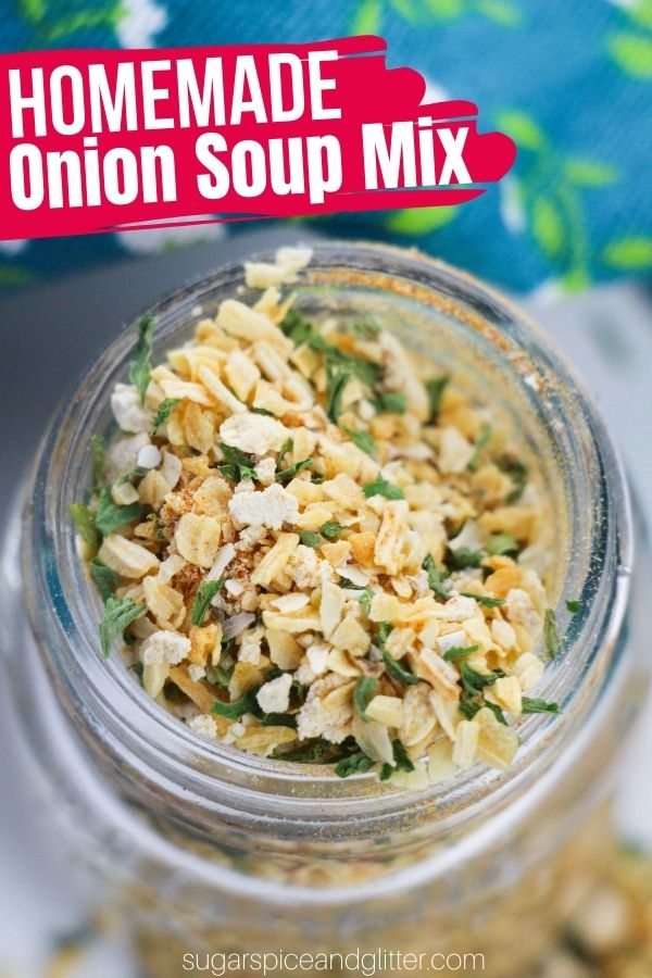 A quick and easy recipe for homemade onion soup mix. Perfect for making homemade onion soup, homemade onion dip or adding to your favorite roasts. This DIY seasoning mix is so versatile and way cheaper than buying individual onion soup mix packets.