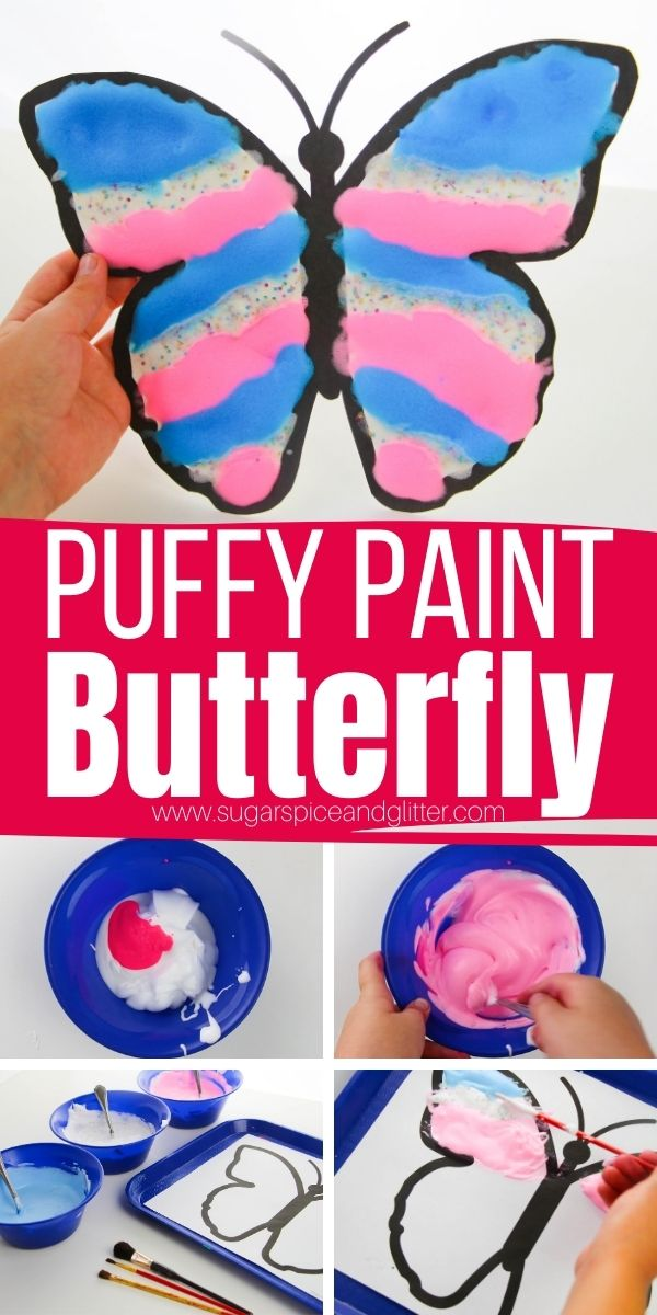 How to make puffy paint to create a magical, 3D puffy butterfly craft with amazing texture. This 3-ingredient puffy paint takes less than a minute to whip up, letting you get right to crafting your magical butterfly paintings