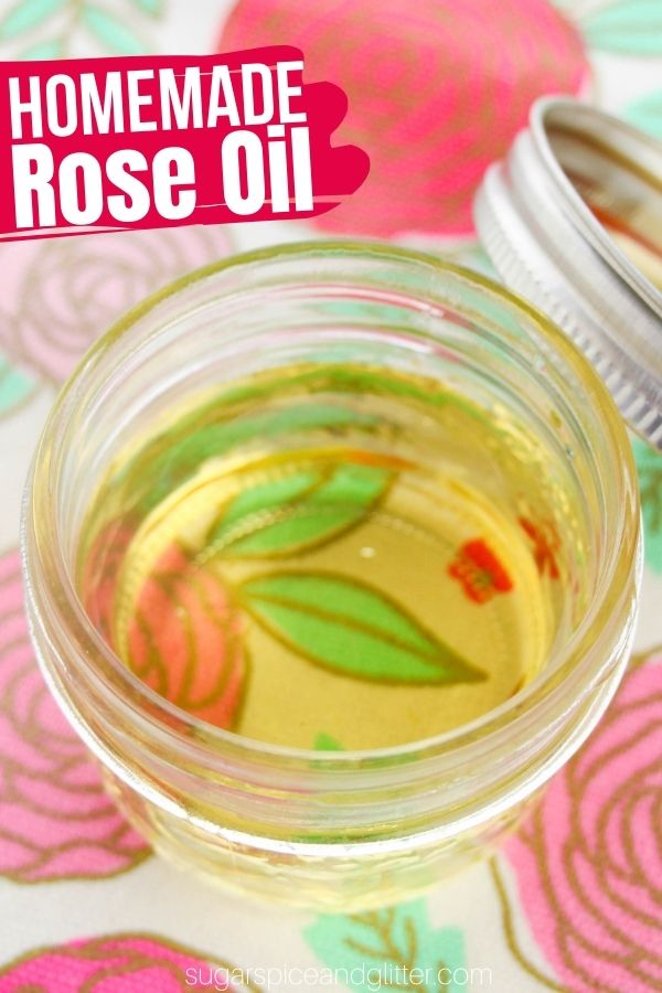 A quick and easy method for turning fresh rose petals into nourishing, hydrating homemade rose oil. A wonderful-smelling body oil with a variety of benefits.