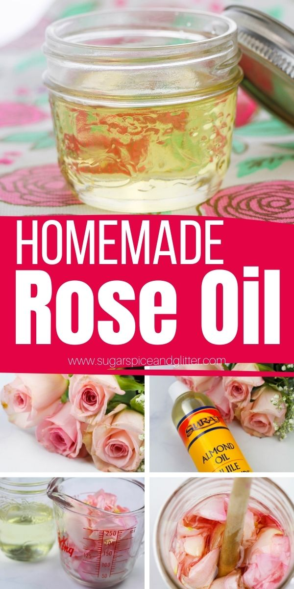 How to make homemade rose oil, a nourishing, hydrating body oil with a variety of skin benefits. Use fresh rose petals or rose essential oil to make a luxurious body oil your skin will thank you for