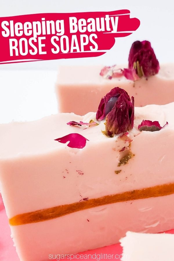 A super simple DIY rose soap recipe using goat's milk soap and dried rose buds. These pretty rose soaps with a golden ripple through the middle look gorgeous and are great for sensitive skin.