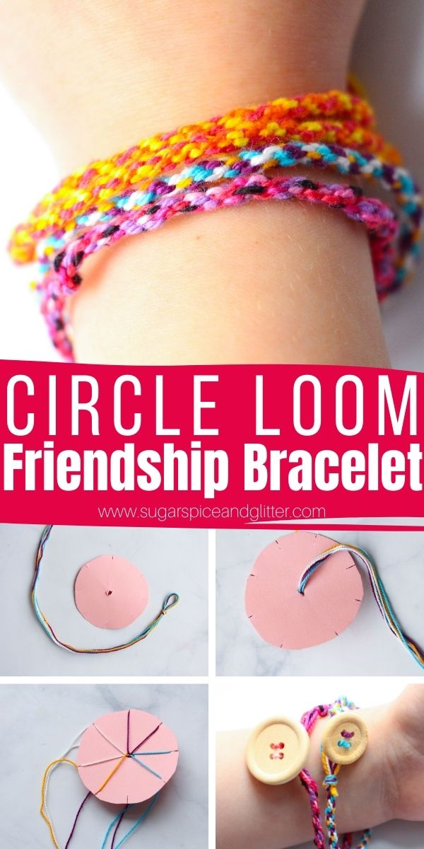 How to make the easiest friendship bracelets using a small circle of cardboard or cardstock. These friendship bracelets are incredibly easy for little kids to make, even if they can't braid or tie knots yet. They just need to be able to count to three.