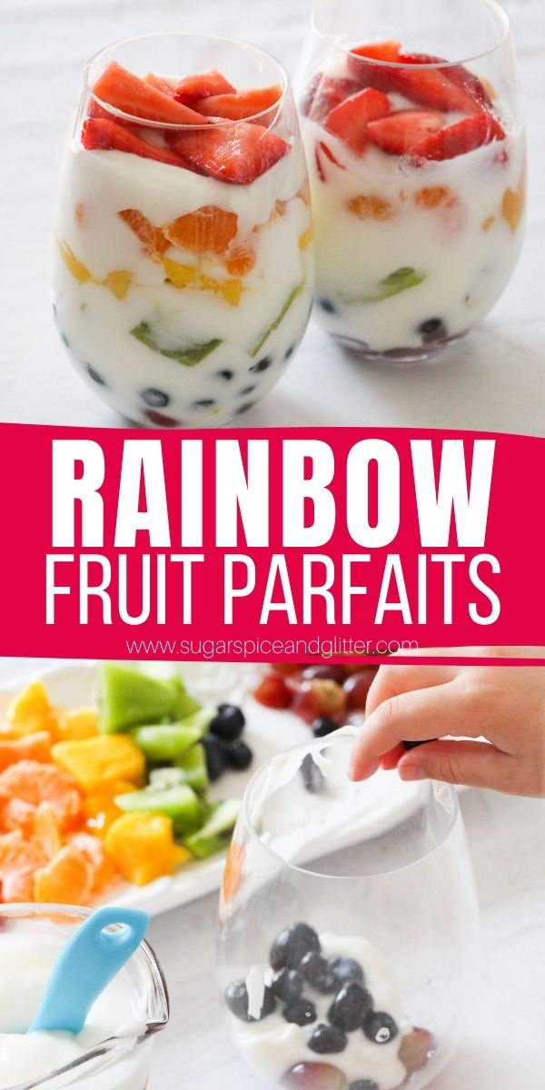 A quick and easy yogurt and fruit parfait that kids can make, these Rainbow Fruit Parfaits make a delicious breakfast or healthy dessert option that tastes like a cheater cheesecake.