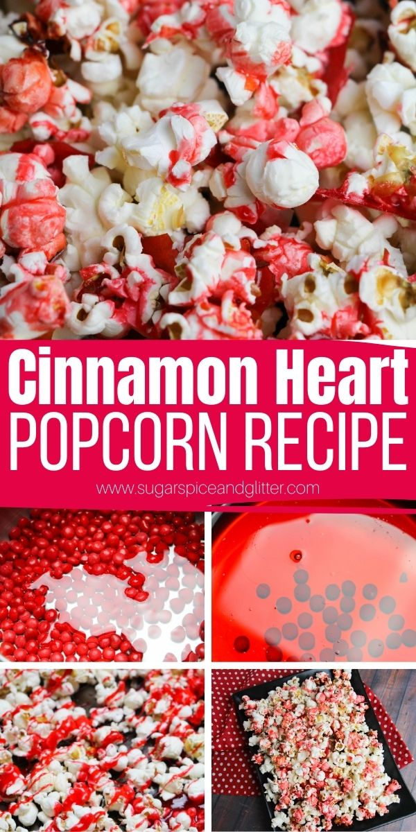 How to make Cinnamon Heart Popcorn, a fun Valentine's Day snack perfect for a movie night or Valentine's Day party. Just 3 ingredients and takes less than 10 minutes to prepare.