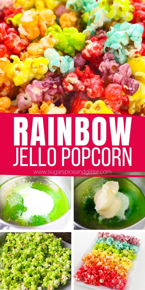 How to make rainbow popcorn using Jello! This candied popcorn recipe is colorful, crunchy and has a fun mix of fruity flavors. It's perfect for parties and you can make a giant 18 cup batch or make a smaller, family-sized batch for a family movie night.