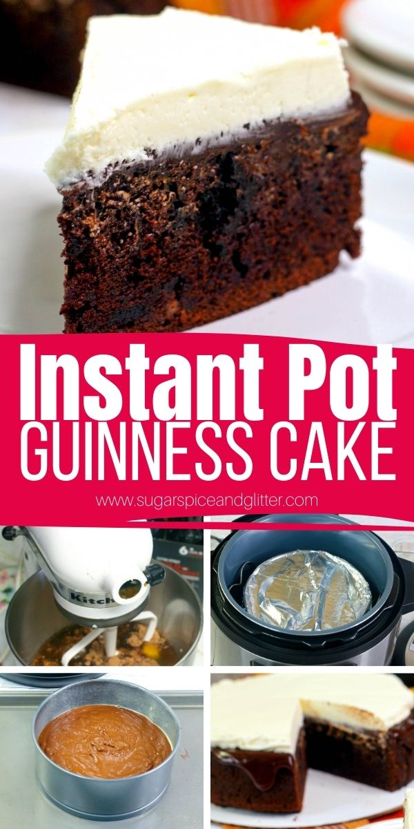 How to make Guinness Chocolate Cake in the Instant Pot. This Boozy Chocolate Cake is topped with a decadent, 2-ingredient chocolate ganache and simple Bailey's Irish Cream frosting for a rich, indulgent dessert your guests will love!
