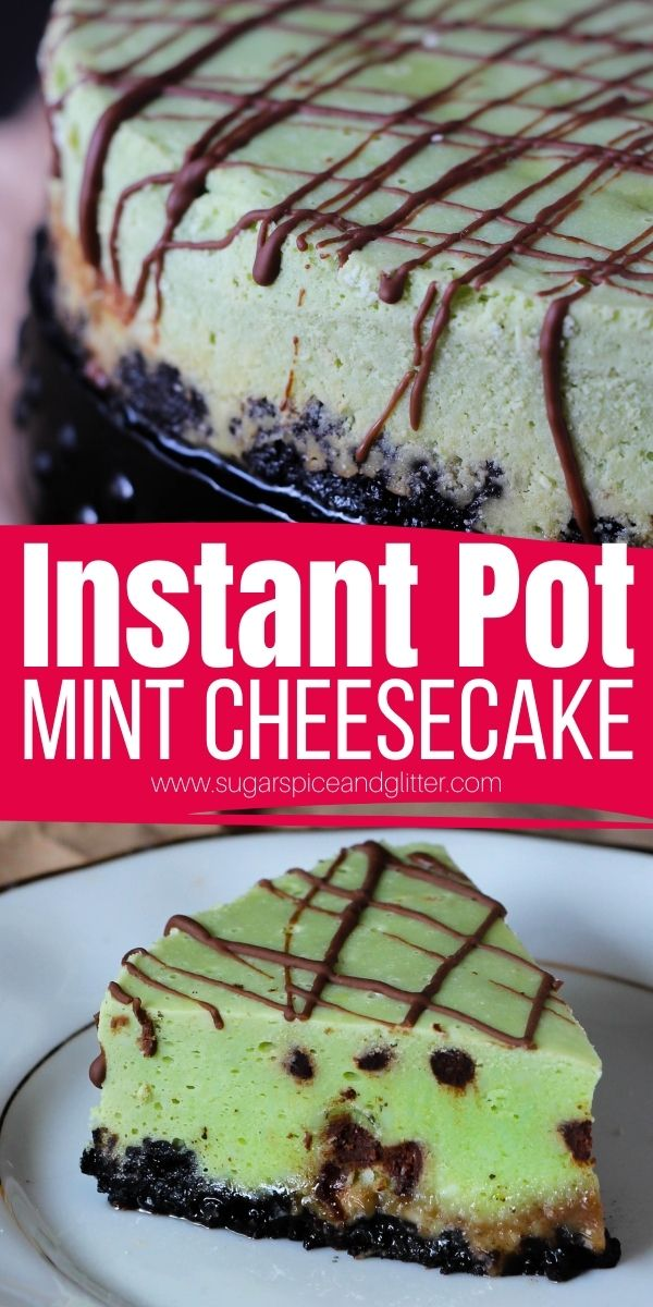 How to make mint chocolate chip cheesecake in the Instant Pot - a rich, creamy and decadent cheesecake perfect for mint chocolate fans. This mint chocolate dessert is super quick and easy to whip up