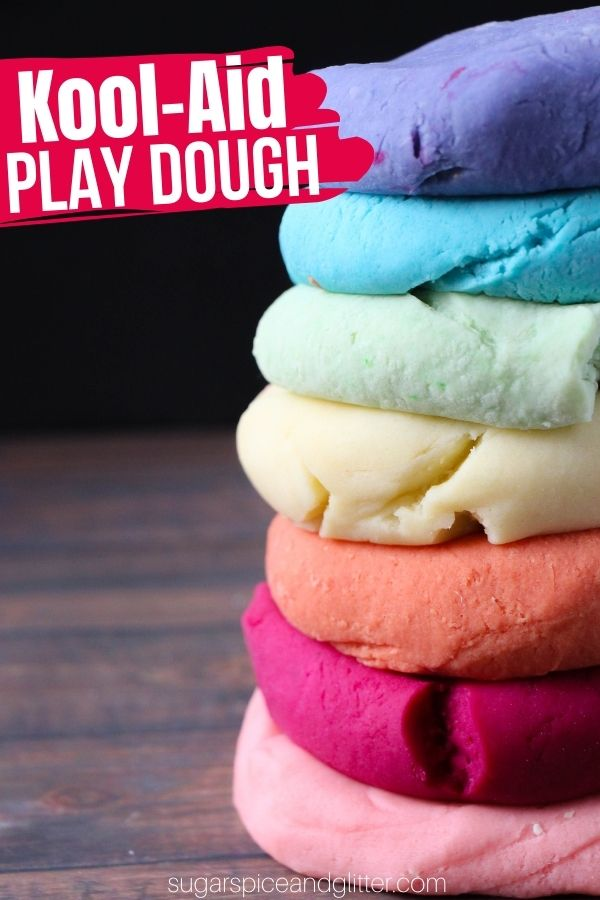 Squishy, perfectly moldable play dough made with Kool-Aid for a bright pop of color and scent. This easy no-cook Kool Aid recipe is super easy to whip up and lasts for a month!