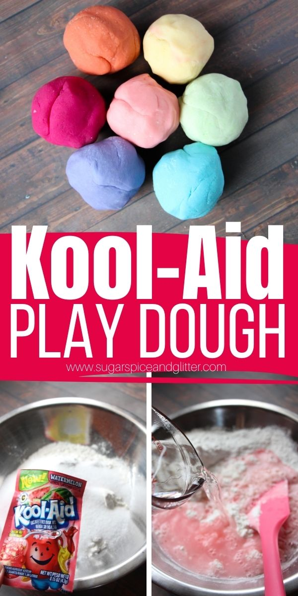 How to make No Cook Kool-Aid Play Dough, a soft, squishy play dough with a bright pop of color and yummy scent, without having to mess with food dye or flavor extracts. This Kool Aid Play Dough will last for a month and give so many fun opportunities for play