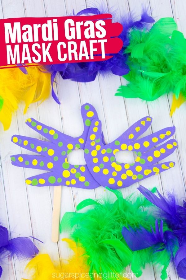 A fun Mardi Gras craft for kids to host their own masked ball. These easy cardboard face masks are made using everyday craft materials and the kids' own handprints.