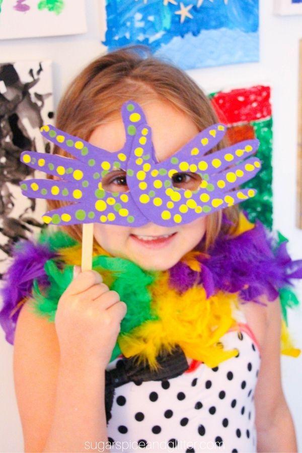 Mardi Gras Handprint Mask