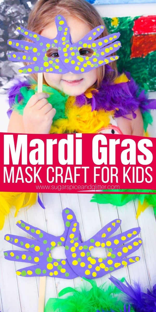 How to make a Mardi Gras Mask using your child's handprints! This fun and easy mardi gras craft for kids is the perfect activity before hosting your own little masked ball in the living room, or before watching Princess and the Frog or the Hunchback of Notre Dame