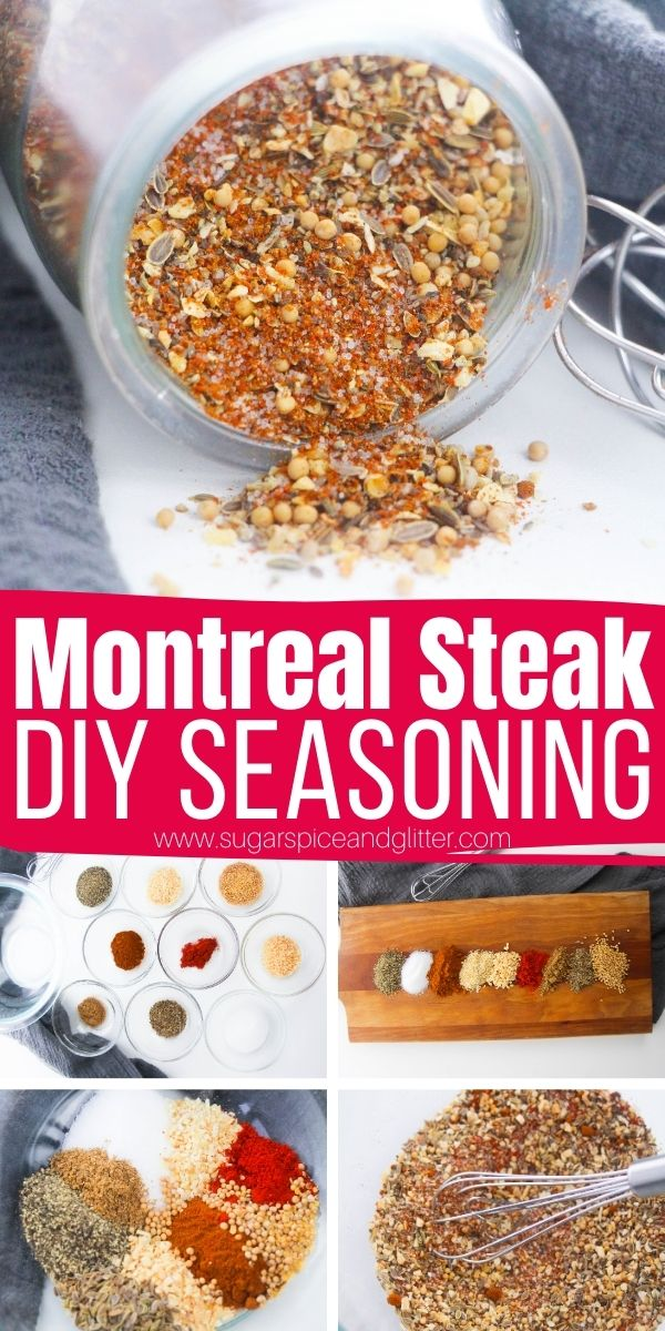 How to make Montreal Steak Seasoning from scratch - a delicious and spicy seasoning blend that can be used as a steak rub, to season grilled chicken, add flavor to veggies, and more. Makes a cute homemade gift for the BBQ enthusiast in your life