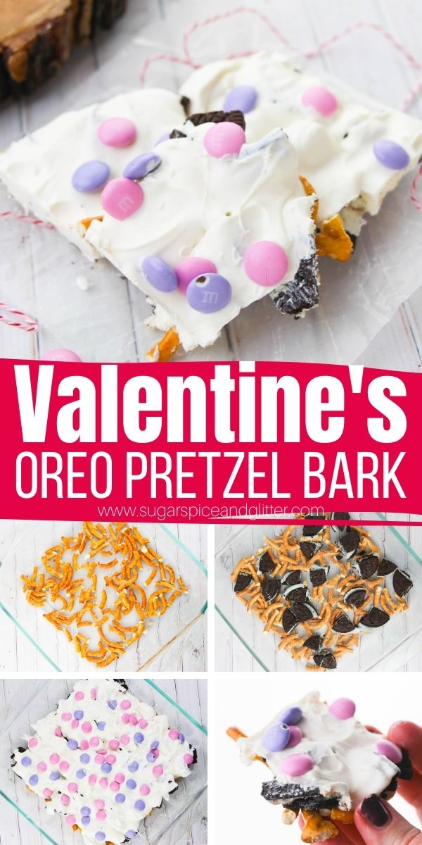 How to make a delicious, sweet and salty Valentine's Dessert Bark. A fun no bake Valentine's dessert recipe so simple, the kids can help make it! Break into bite sized pieces and serve at a Valentine's Day party or wrap in cellophane treat bags