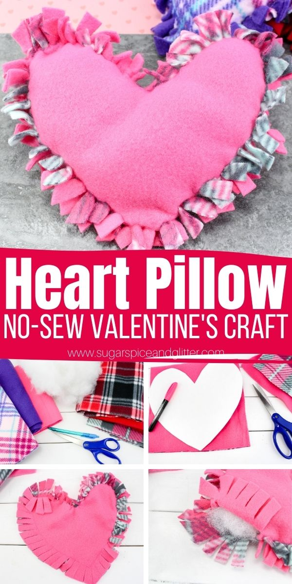 How to make a no-sew pillow, the perfect easy craft idea for a sleepover or a Valentine's Day party. You can make your pillow heart-shaped like ours, or use our easy no-sew method to make a variety of different shapes.
