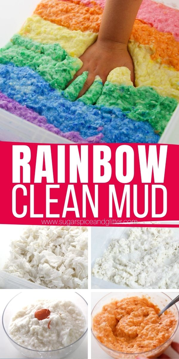 How to make 3-ingredient clean mud, a fun, squishy sensory play material that feels like real mud - without the mess! Kids hands actually end up cleaner after playing with clean mud than when they started.