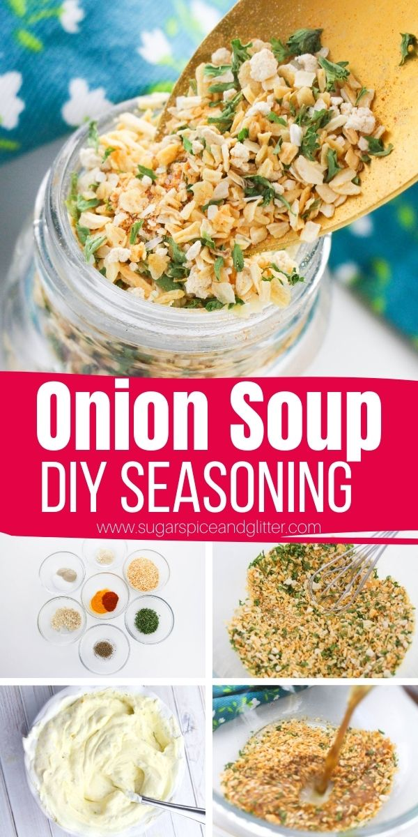 How to make homemade onion soup mix, perfect for onion chip dip, easy onion soup or adding to your favorite roasts or pasta recipes. This onion soup mix skips the added sodium, thickeners or preservatives in commercial packets