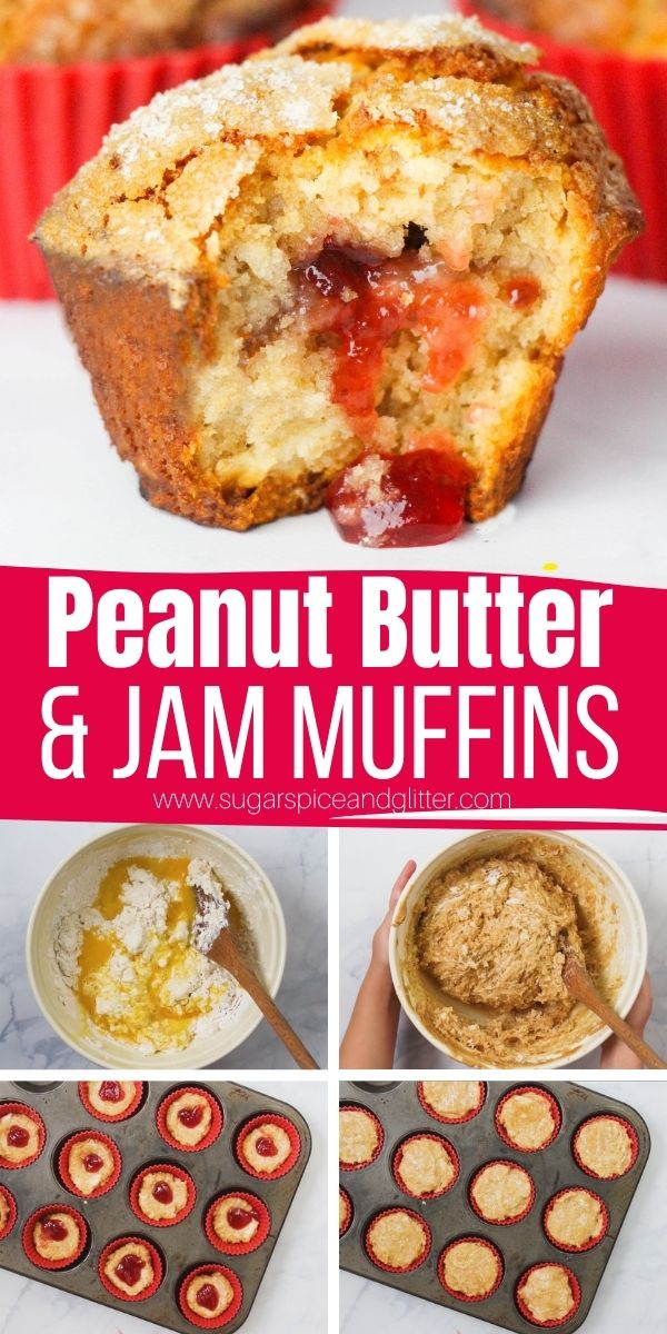 How to make peanut butter and jelly muffins, a fun twist on a classic flavor combo. These easy muffins are the perfect afternoon treat for pb&j fans - and super simple to whip up with the kids.