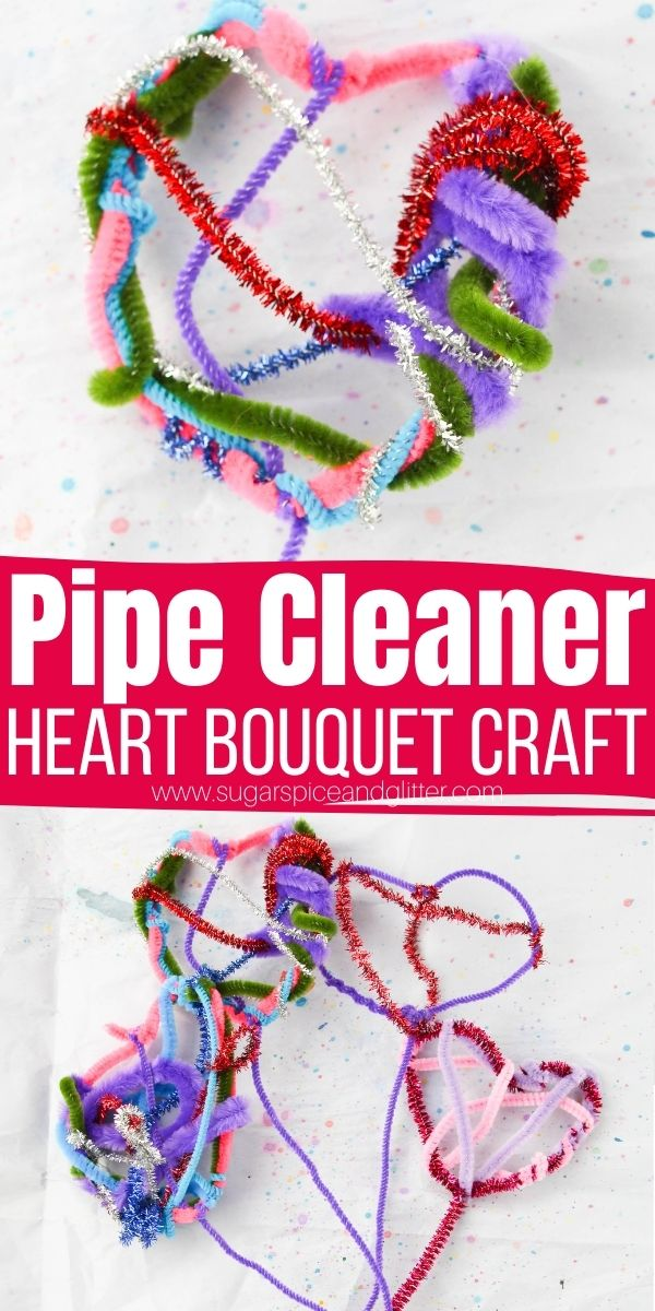 How to make pipe cleaner heart flowers, a fun pipe cleaner craft for kids that doubles as a fun fine motor craft building finger dexterity and strength. A cute homemade gift kids of all ages can make