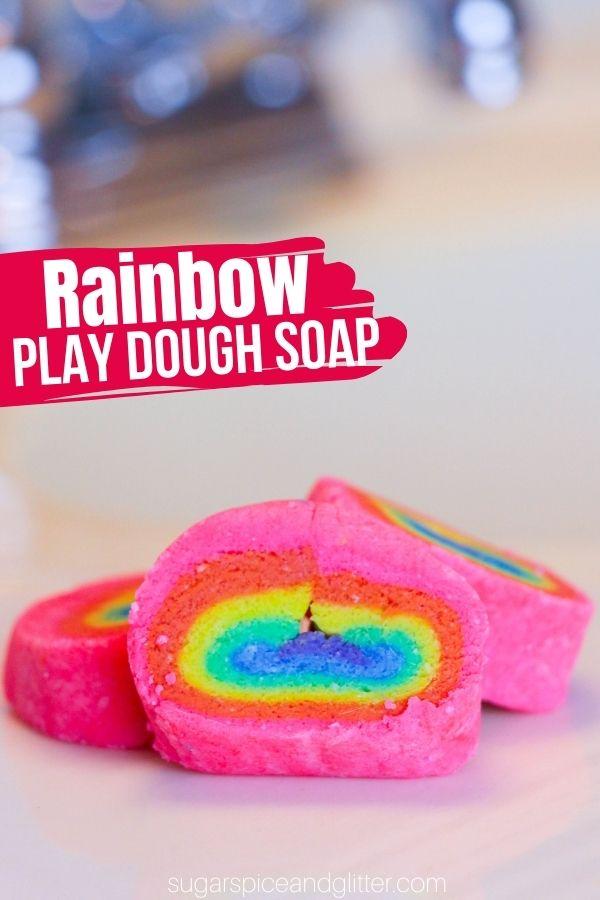 Rainbow Play Dough Soap Bars