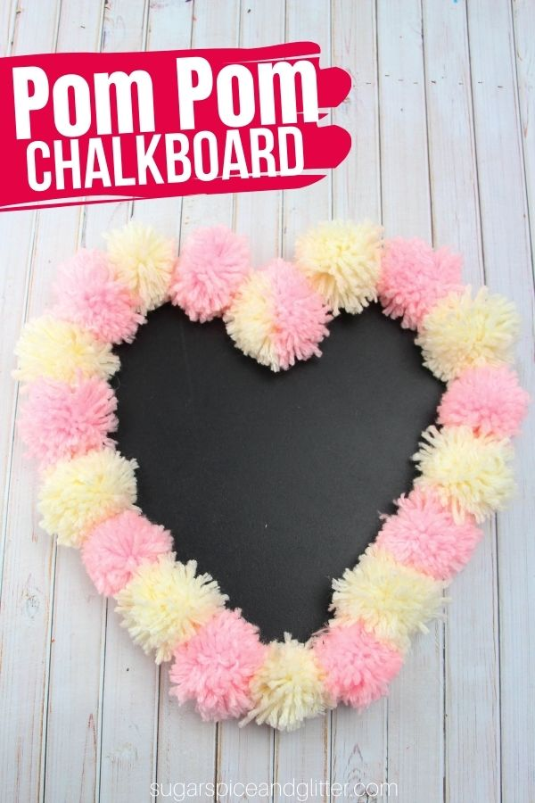 A super simple craft for making a romantic, shabby chic yarn pom pom chalkboard. A fun way to dress up a plain chalkboard using your own color pattern. Perfect for writing special love notes on for Valentine's Day