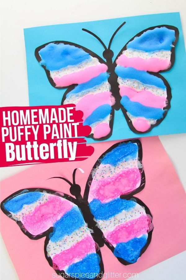 A super simple 3-ingredient puffy paint recipe and free printable butterfly template for kids to make their own 3D puffy paint butterflies. A fun sensory craft with amazing texture. Kids can create their own patterns or try to recreate the wing designs they see in real butterflies.