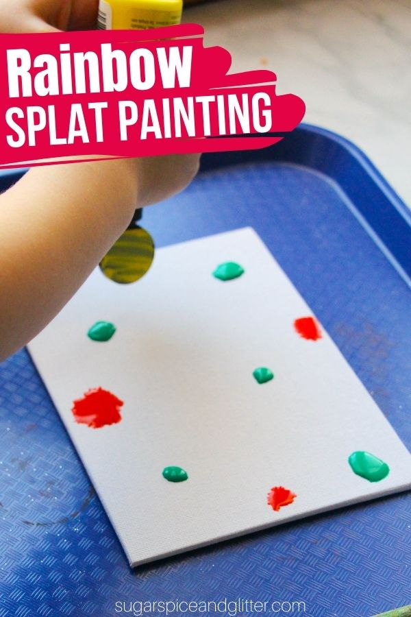 The kids will love getting to make their own splat rainbow painting! A fun process art project that explores color mixing and is a great way to use up leftover paint.