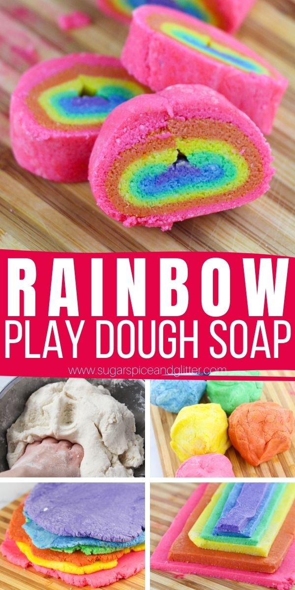 How to make play dough soap, a fun idea for making bath times more fun and less of a battle! These rainbow soap bars make a fun gift and actually can be used to wash hands.