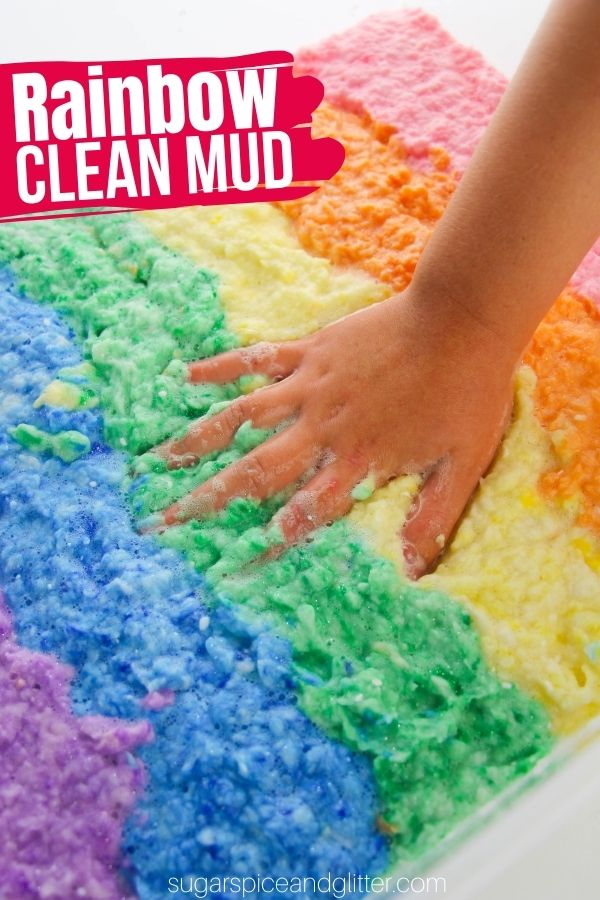 Rainbow clean mud is a fun twist on a classic rainbow sensory bin. It's squishy, slippery and feels just like real mud - without the mess!