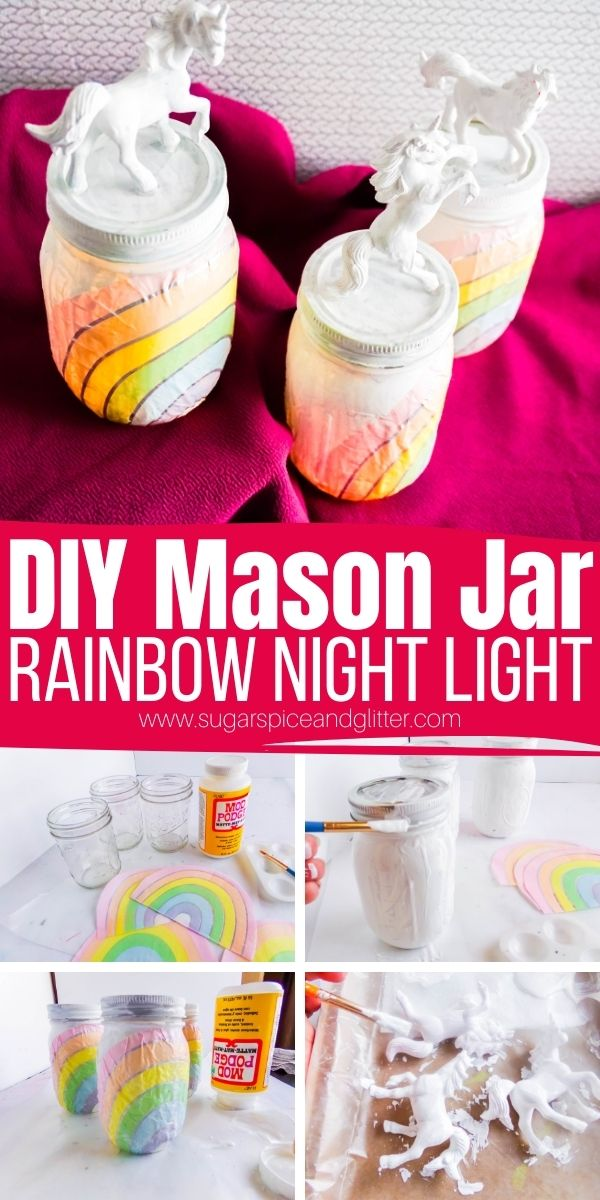 How to make a DIY Night Light using a mason jar and fairy lights. You can make our Rainbow Unicorn Night Light or customize your night light with different designs or characters - Action Figures, Disney Princesses, Fairies, etc.