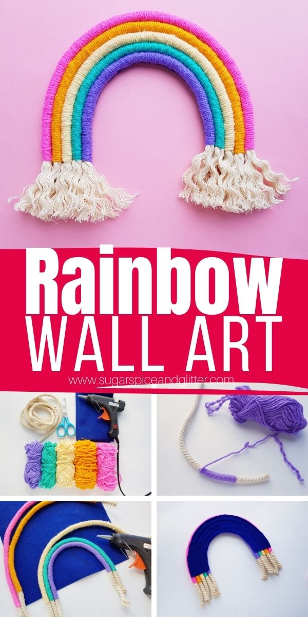 How to make a rainbow rope rainbow wall hanging, a fun twist on macrame without all of the braiding and precision. Change up your rainbow wall art with fake flowers, beads, etc, to make it your own.