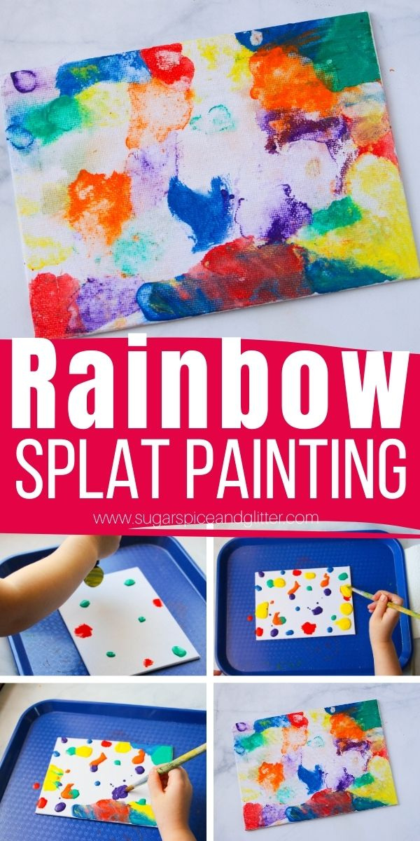 How to make a splat painting with kids, a fun hands-on process art project to explore color mixing and a great use for leftover paint