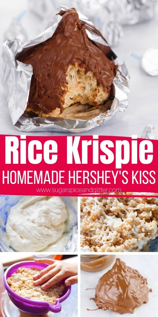 "How to make a Giant Rice Krispie Hershey's Kiss as a fun homemade gift - perfect for Father's Day, Valentine's Day, anniversaries, etc. Tuck a thoughtful note in for the ""kiss tag"" for a special personalized touch"
