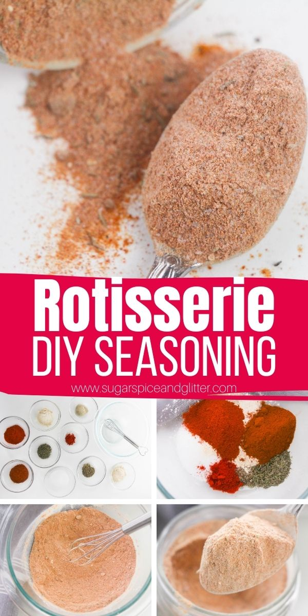How to make your own rotisserie seasoning, for homemade rotisserie chicken or flavorful veggie recipes at home. Skip the high levels of sodium and greasy chicken and make your own!