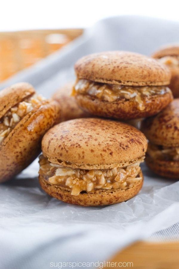 Samoa Macarons with Caramel-Coconut Filling