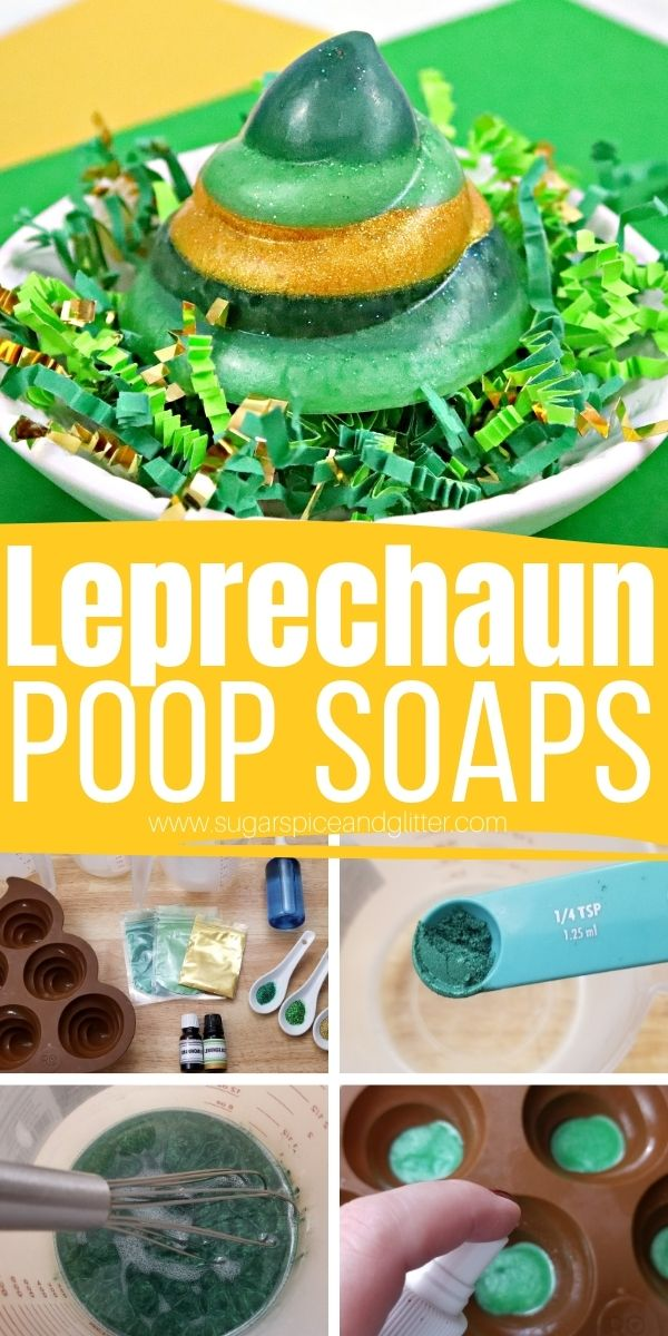 How to make glittery poop soaps for a fun St Patrick's Day prank that will leave the kids giggling and looking for excuses to wash their hands. This glittery soap has a refreshing and calming chamomile lemongrass scent that even grown-ups will love