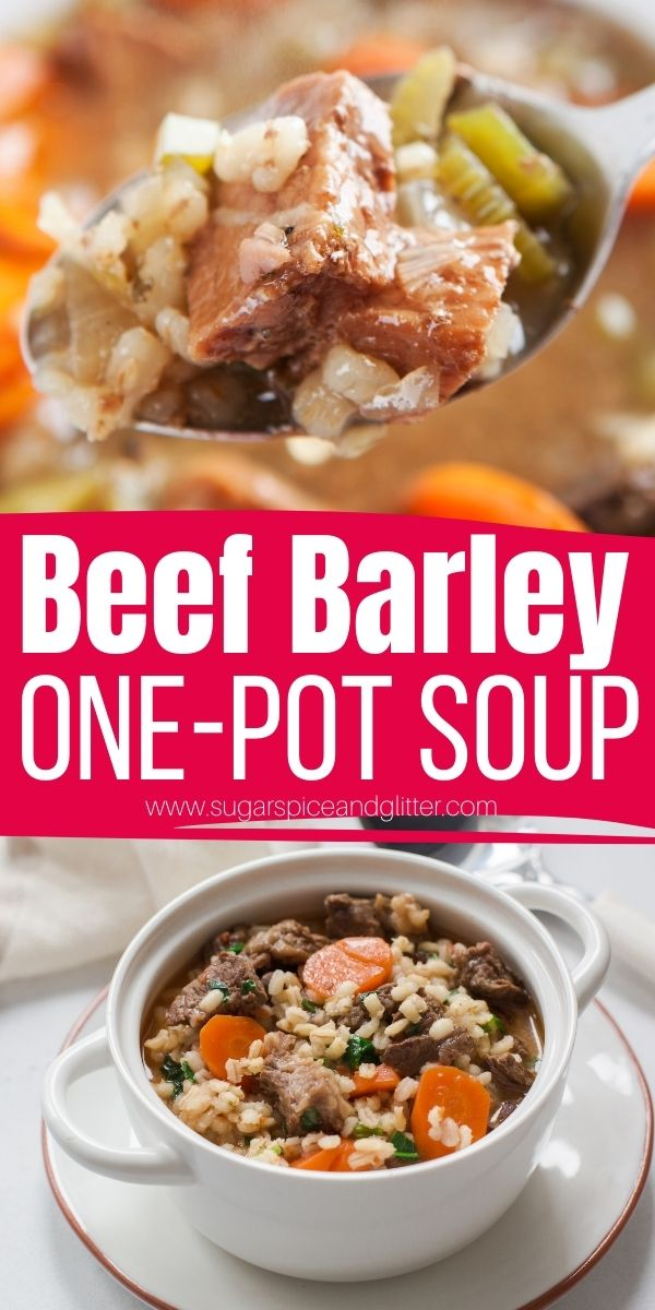 How to make the best beef barley soup in one pot! This comforting soup recipe features tender chunks of beef, perfectly cooked vegetables, a flavorful broth and chewy pearl barley. Ready from start to finish in one hour