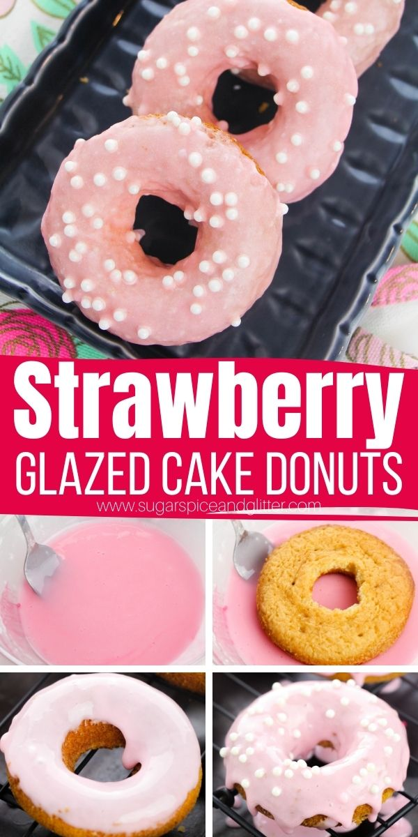 How to make the best ever strawberry glazed cake donuts with a from-scratch cake donut and luscious, melt-in-your-mouth strawberry glaze. These donuts are perfect for so many occasions: baby showers, bridal showers, princess birthday parties, Mother's Day or Valentine's Day